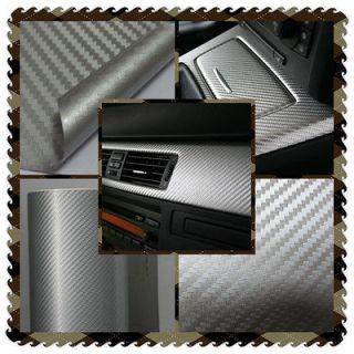 60 3D Chrome Silver Carbon Fiber Vehicle Wrap Vinyl Sticker