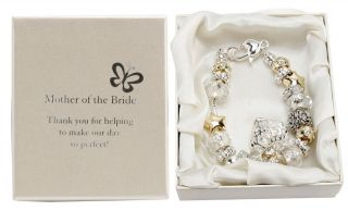 Amore Love Mother of The Bride Charm Bracelet Silver Gold Bead