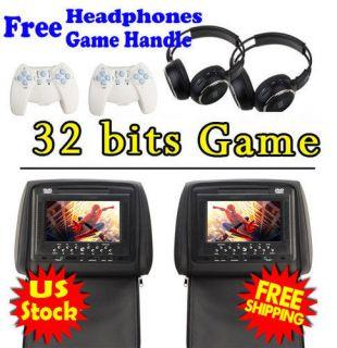 Black Dual 7 Media Car Headrest DVD Player 32Bit Game Sony Lens+2xIR