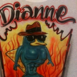 Perry The Macho Platypus Phineus Ferb Candace NEW T SHIRT AIRBRUSH
