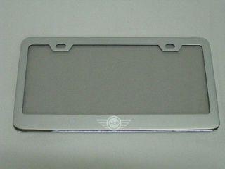 MINI COOPER *LOGO* chrome metal license plate frame +screw caps (Fits