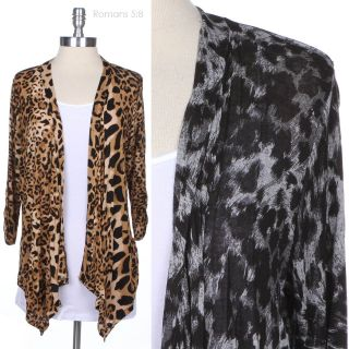 JUNIOR PLUS SIZE] Leopard Print Long Sleeve Open Draped Cardigan