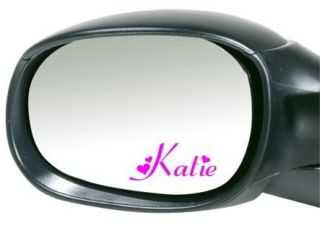 2x Personalised Custom Name Car Mirror Stickers   Great Birthday Gift