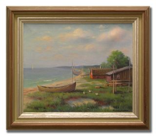 CARL IVAR ÖFVERBÄCK / SMALL FARM BY THE SEA   Original Swedish Oil
