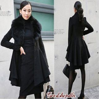 New Women Winter Wool Coat Parka Fur Collar Outwear Jacket Black Camel