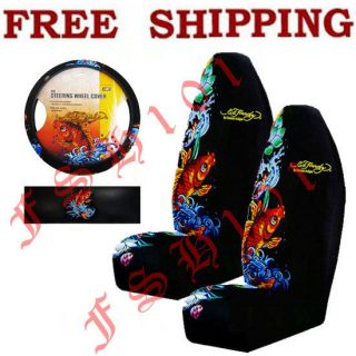 3PC Set Ed Hardy Koi Fish Car Truck Seat Covers & Steering Wheel Cover