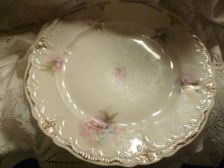 Vintage Weimar Luncheon Plate 8.5 Inches Blue & Pink Gold Trim Germany