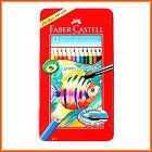 FABER CASTELL Watercolour Pencils+gift brush Tin Case,12pcs