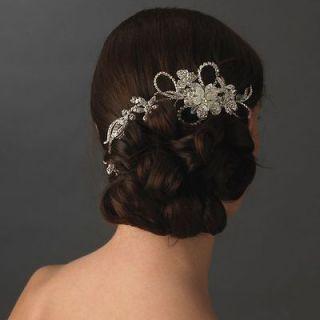 Cz VINTAGE CRYSTAL RHINESTONE SILVER BRIDAL TIARA HAIR COMB pin veil