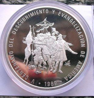 Dominican 1989 Discover America Columbus 100 Pesos 5oz Silver Coin