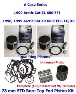 1998 1999 Arctic Cat 600 ZR 78 mm STD Pistons Bearings Full Gasket w