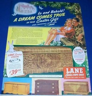 1943 Lane Cedar Hope Chest Dream Easter Gift GI/Girl Ad