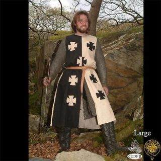 MEDIEVAL KNIGHT CRUSADER Middle Ages Black Natural Sleeveless TUNIC