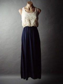 Ivory Embroidered Lace Romantic Boho Bohemian Twofer Blouson Long Maxi