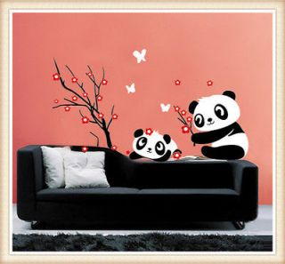Vinyl Wall Sticker Mural Decal Art   Panda and Cherry Blossom Tree