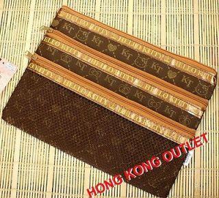Hello Kitty 3 Zipper Cosmetic Pencil Bag Case Sanrio Brown A84b