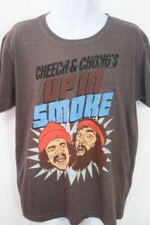 Men Brown Graphic Tee Shirt Cheech & Chongs Up In Smoke