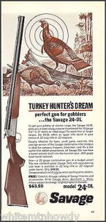 Newly listed 1964 SAVAGE Model 24 DL SHOTGUN AD Turkey Hunting