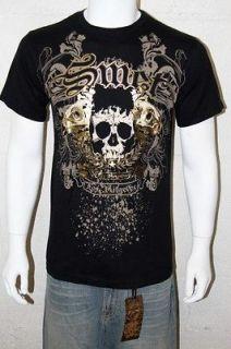 NWT Smet By Christian Audigier Vampire Skull Men Black T shirt Size