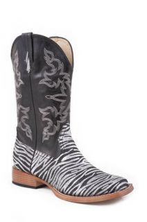 NIB Ladies Roper Black & Silver Zebra Glitter Foot Cowboy Boots in