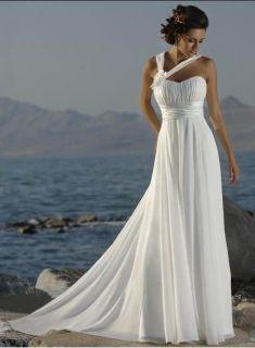 White Beach Wedding Dress Evening Chiffon Bridal Gown Stock Size 6 8
