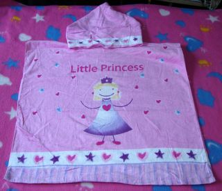120x60cm Disney Princess Girl Kids Poncho Beach Bath Hooded Towel NEW