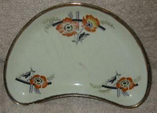 VINTAGE HAND PAINTED MORLEY WARE CHINA GOLD TRIMMED CRESCENT POPPY