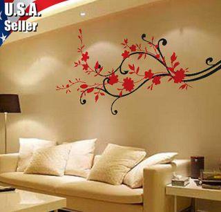 Cherry Blossom Swirls Wall Decor Art Vinyl Removable Mural Decal