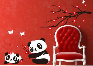 Baby Panda Wall Sticker Home Decoration Panda and Cherry Blossom Tree