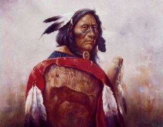 RED BUFFALO SHIELD 10x8 In Native American Theme Print