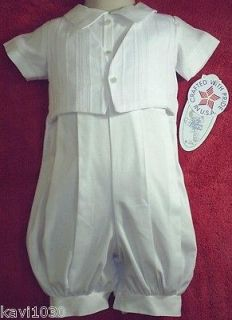 New Baby Boy White Christening Baptism Cotton Suit Outfit Size NB 3M