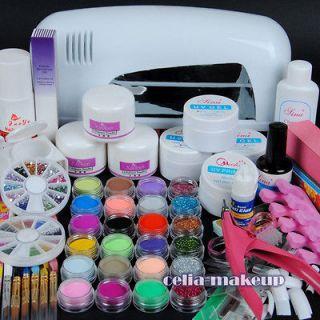 9W UV white dryer lamp 24 color Acrylic Powder Nail Art Kit gel