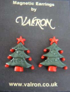 CHRISTMAS TREE EARRINGS IDEAL FOR CHILDREN   MAGNETIC, CLIP ON OR STUD
