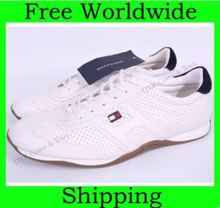 NEW TOMMY HILFIGER MENS WHITE CASUAL SHOES SNEAKERS + FREE SHIP