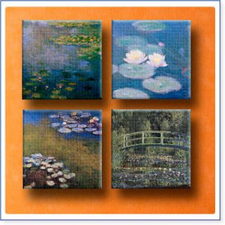 Huge Claude Monet SET 4 pcs lot 12x12 inch giclee print CANVAS ART