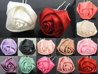 6pcs 10pcs 20pcs Silk Rose Flower Hair Pin Clips Wedding Bridal Party