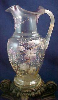 Antique Victorian Bohemian Hand Painted Enamel Art Glass Lemonade
