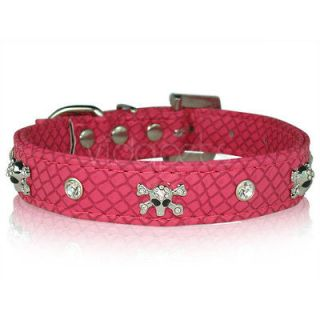 pink leather dog collar large in Leather Collars