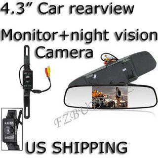 Digital Screen Car Rear View Mirror monitor + 7LEDs CMOS/CCD camera