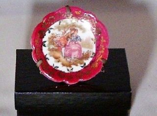 MINIATURE BARDET LIMOGES, FRANCE PLATE, BY FRAGONARD ROMANTIC SCENE