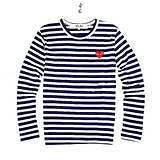 CDG (Play) Comme des Garcons *Red Heart* Navy & White Stripes Long