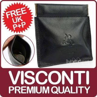 NEW Mens Quality LEATHER SNAP TOP COIN PURSE from VISCONTI 2