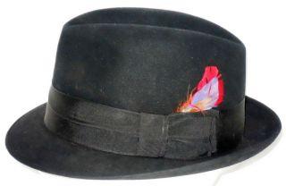 Vintage College Park Mens Black Felt Fedora Hat, Sz Long Oval 6 7/8