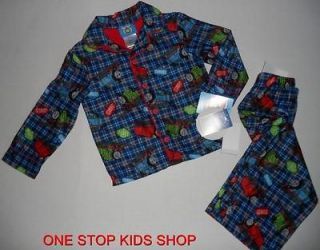 THE TRAIN Toddler Boys 2T 3T 4T Pjs Set FLANNEL PAJAMAS Shirt Pants