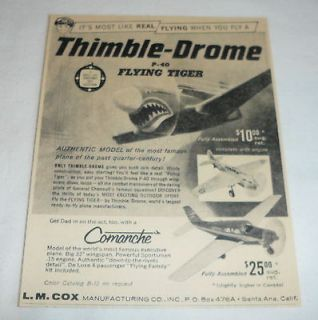 1960 Cox THIMBLE DROME ad ~ P 40 Flying Tiger +Comanche