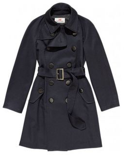 COMME DES GARCONS H&M NAVY BLUE FINE WOOL TRENCH COAT MAC 18 14 44