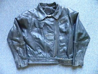 Vtg Mens Fox Run Leather Motorcycle Jacket sz S Black Coat Harley