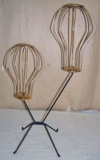 Store display Dbl hat rack stand retro cool gold black all steel made