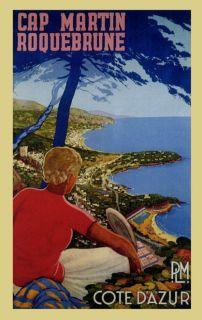 Cap Martin Cote DAzur France French Tourism Travel Vintage Poster
