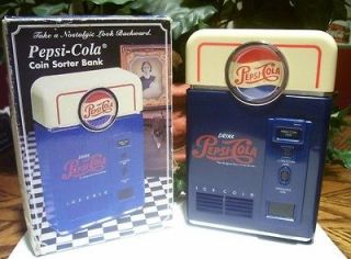 VINTAGE PEPSI COLA VENDING MACHINE BANK COIN COUNTER SORTER DRINK SODA